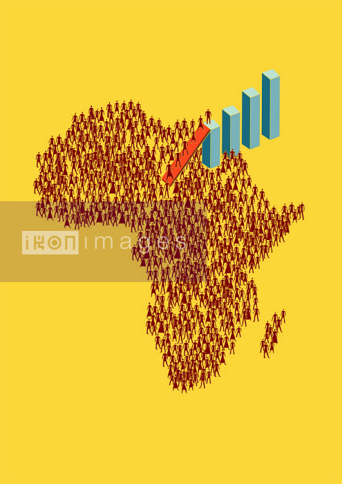 Otto Steininger - People ascending bar chart from map of Africa