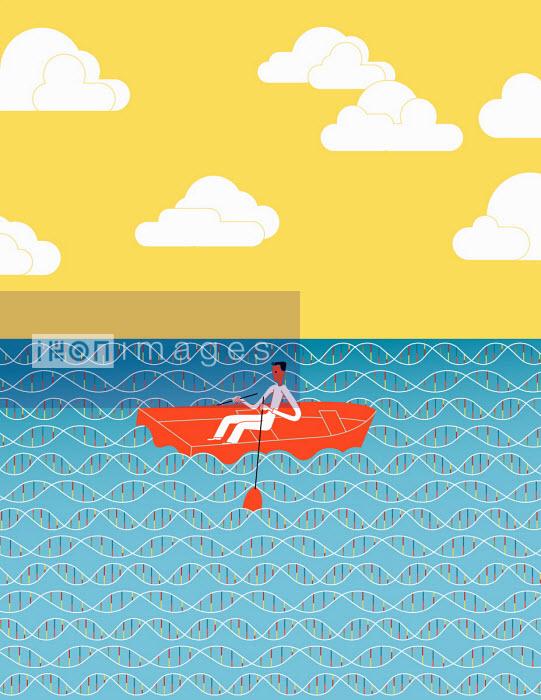 Otto Steininger - Man rowing through sea of DNA