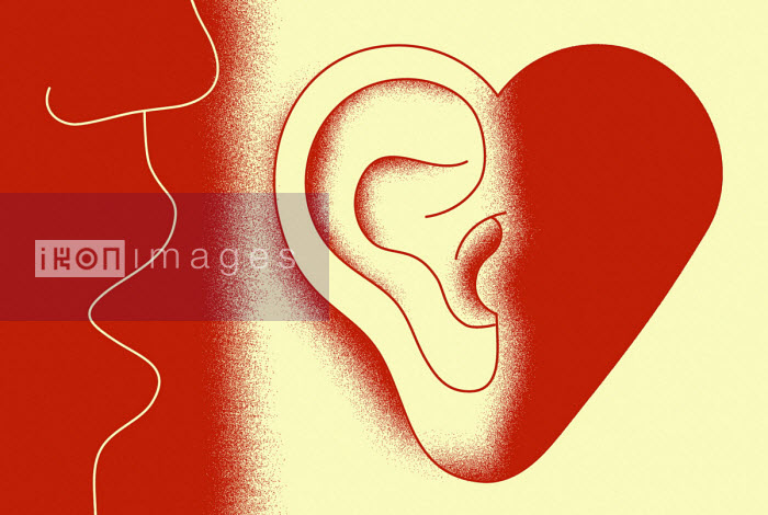 Close up of someone whispering into heart shaped ear - Otto Steininger