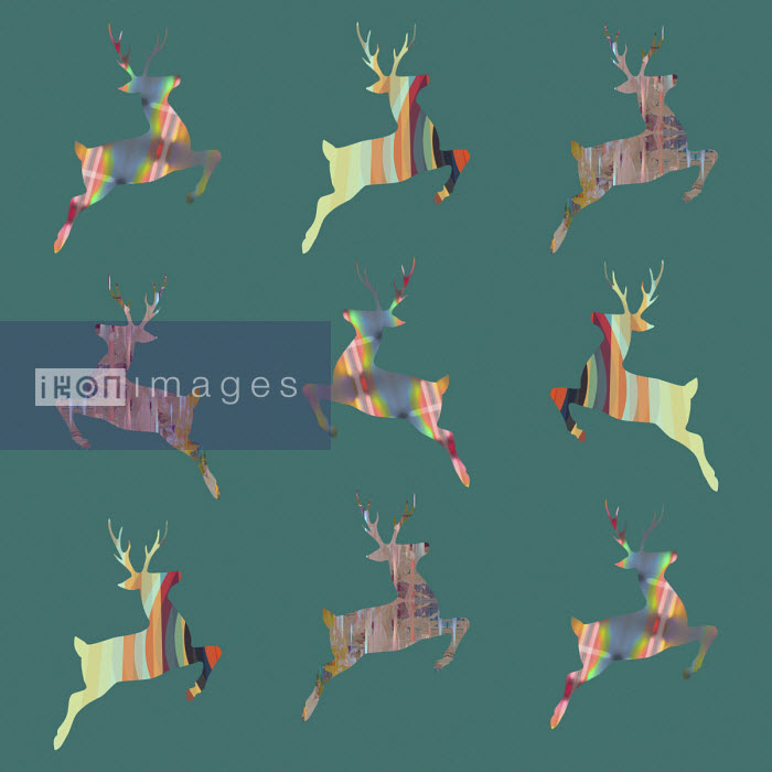 Studio Parris Wakefield - Rows of abstract patterned leaping reindeer