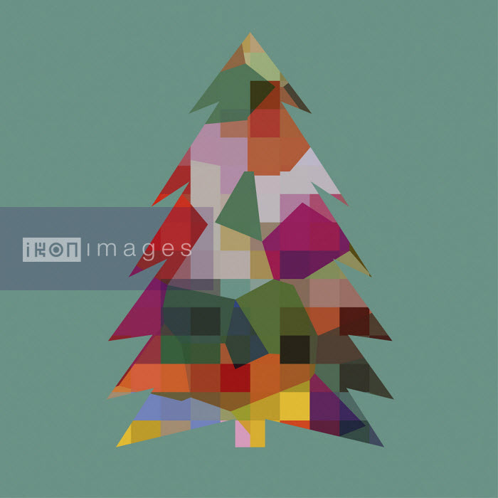 Multi coloured abstract patterned Christmas tree - Studio Parris Wakefield