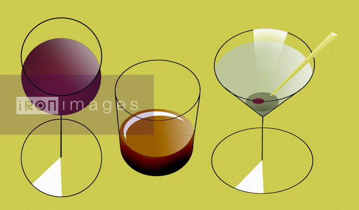 Row of alcoholic drinks