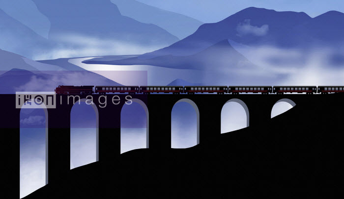 Steam train crossing railway viaduct in mountainous landscape