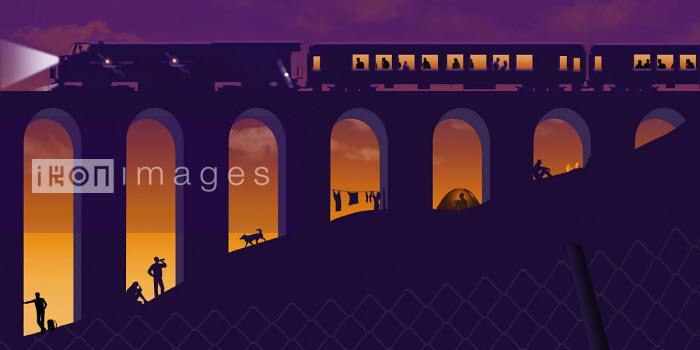 Homeless people living under railway viaduct