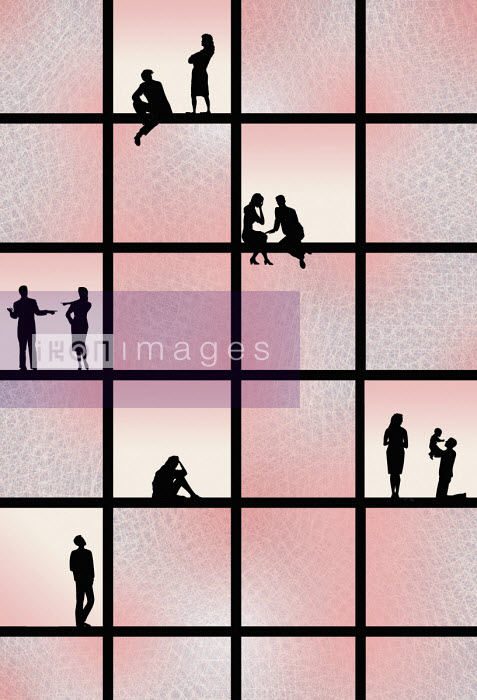 Scenes of relationships silhouetted in window panes
