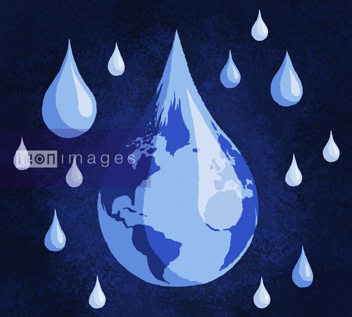 Planet earth in water drop shape - Sam Brewster