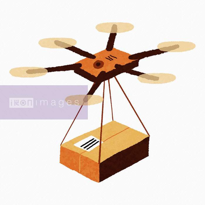 Drone delivering parcel - Sam Brewster