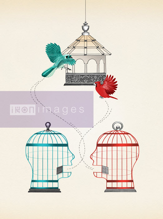 Valero Doval - Birds escaping from two talking head shaped birdcages