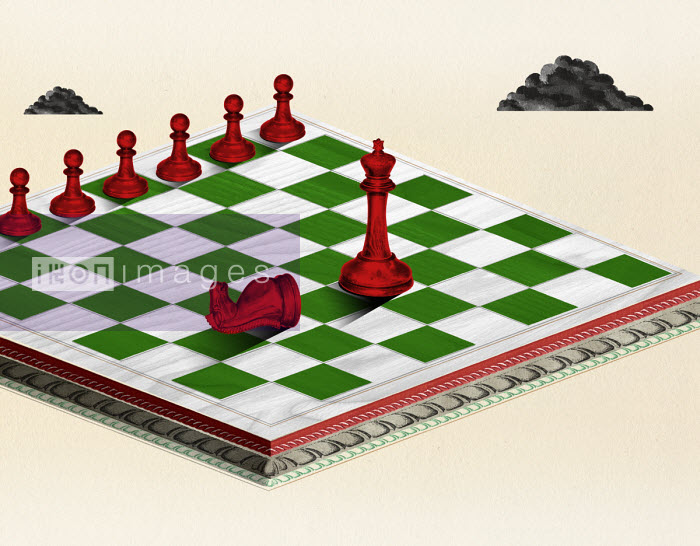 Row of pawns facing king on chessboard - Valero Doval