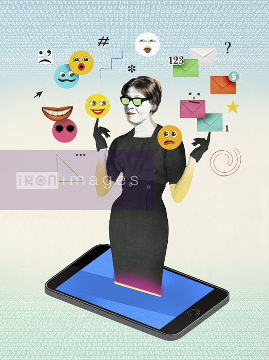 Woman emerging from smart phone surrounded by social media icons - Valero Doval