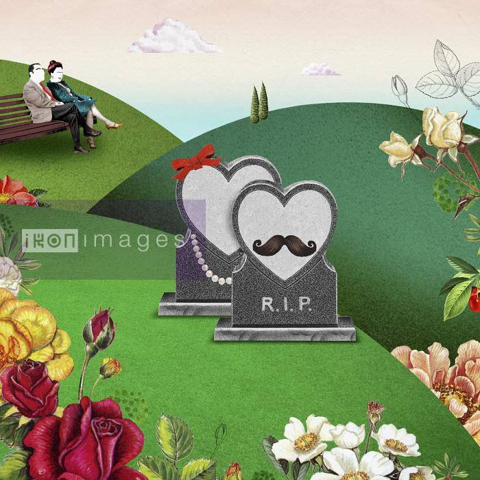 Valero Doval - Male and female heart shaped gravestones