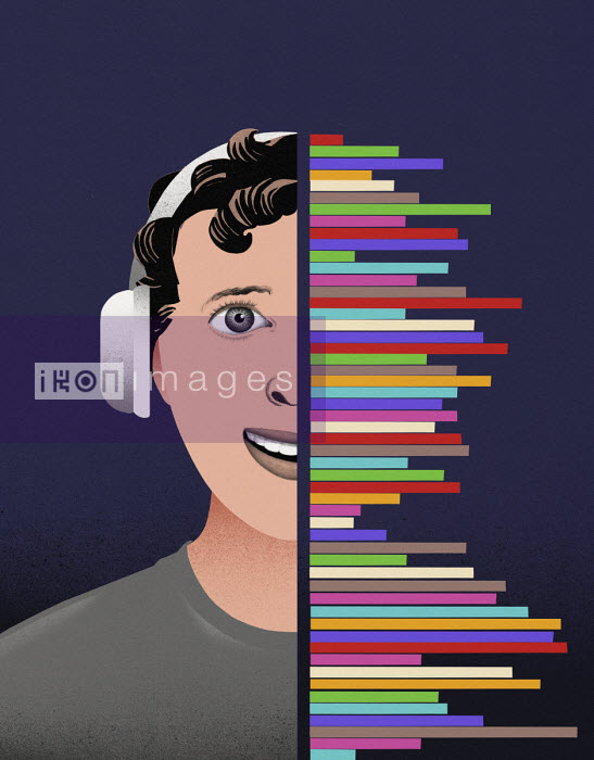 Valero Doval - Teenage boy listening to music on headphones from multi coloured sound waves