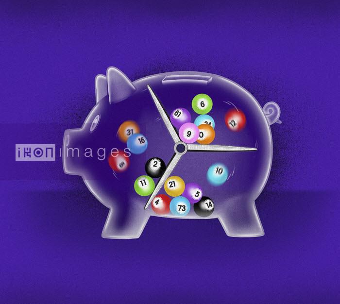 Lottery balls spinning inside of piggy bank - Valero Doval