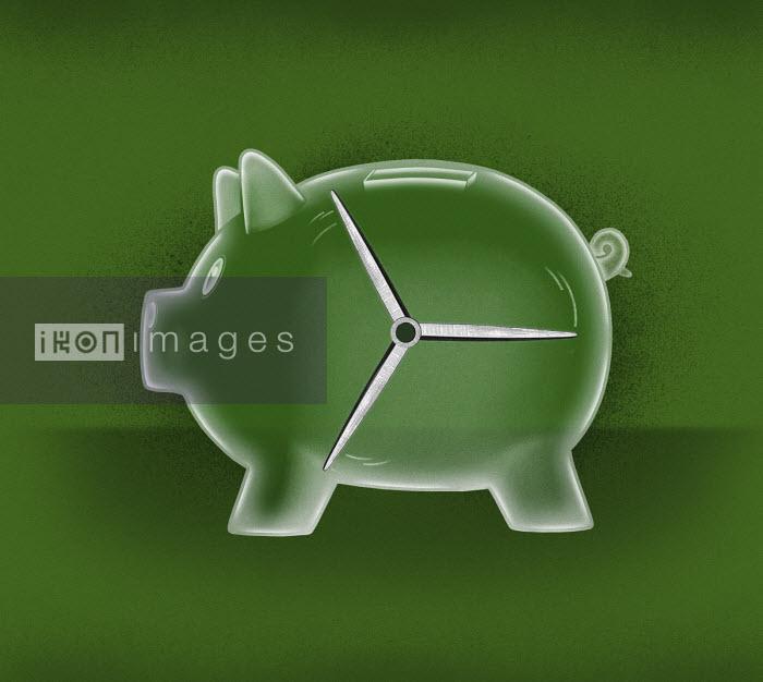 Turbine spinning inside of piggy bank - Valero Doval