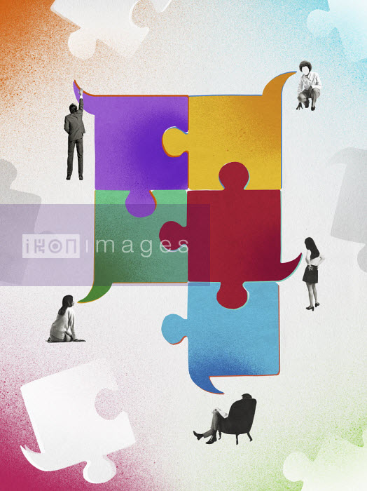 Valero Doval - People connected with jigsaw puzzle shaped speech bubbles