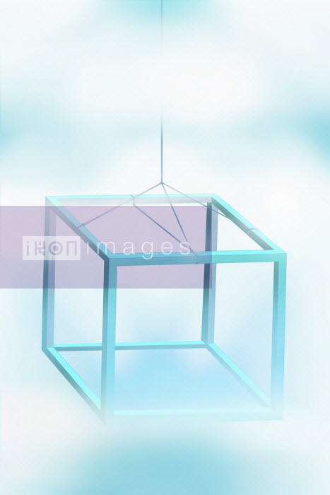 Three dimensional cube frame hanging on string - Vicky Vougiouka