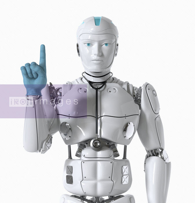 Robot doctor wearing stethoscope - Oliver Burston