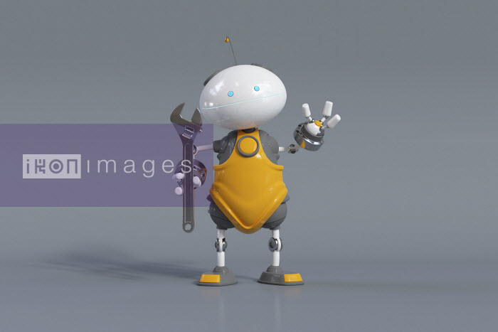 Cute robot holding wrench - Oliver Burston
