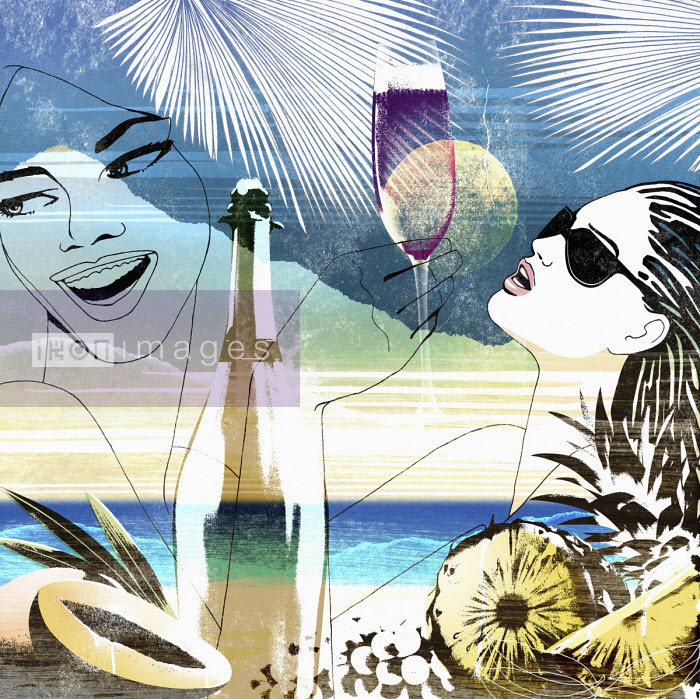 Nick Purser - Montage of young women enjoying champagne on tropical holiday