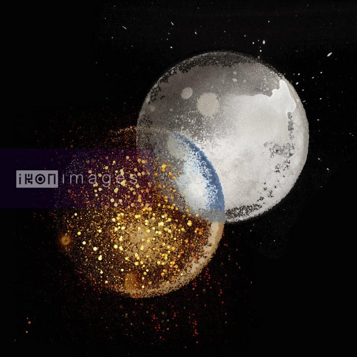 Nick Purser - Moon and disintegrating planet