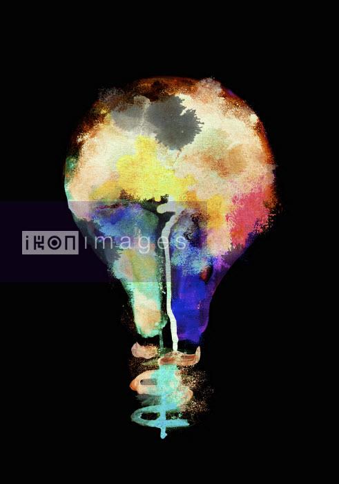 Nick Purser - Multi coloured light bulb