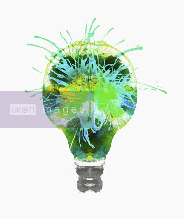 Nick Purser - Green sparks inside of light bulb