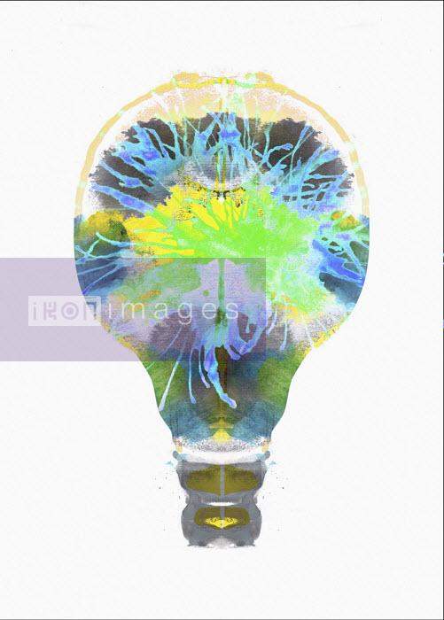Green and blue sparks inside light bulb - Nick Purser