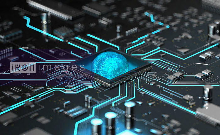 Glowing human brain in the centre of high tech computer circuit board - Oliver Burston