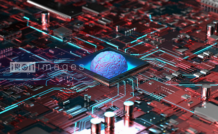 Oliver Burston - Glowing human brain in the centre of high tech computer circuit board