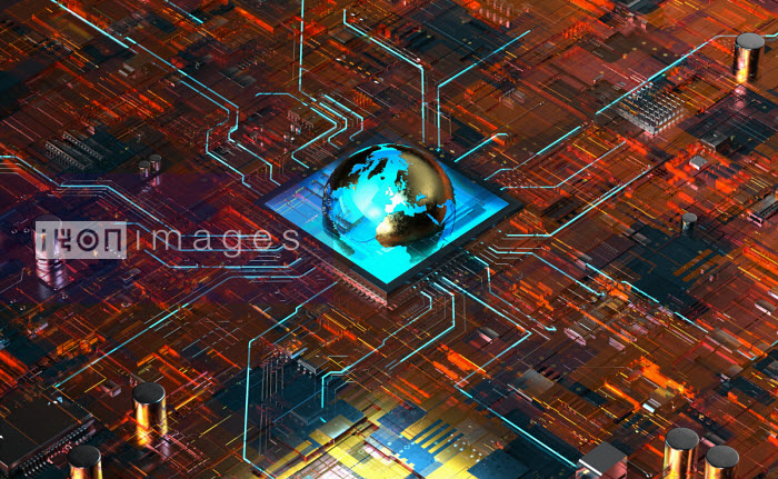 Glowing globe in the centre of high tech computer circuit board - Oliver Burston
