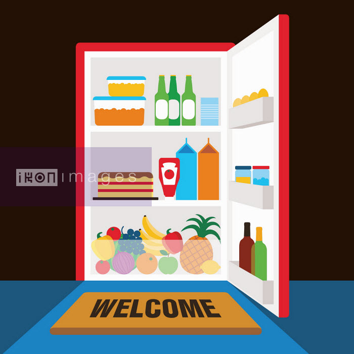 Patrick George - Welcome mat in front of open fridge