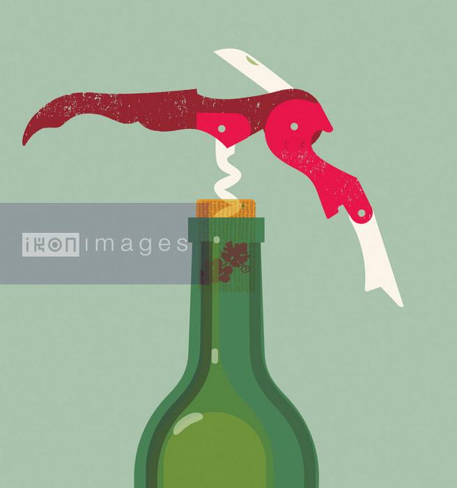Gillian Blease - Corkscrew in wine bottle
