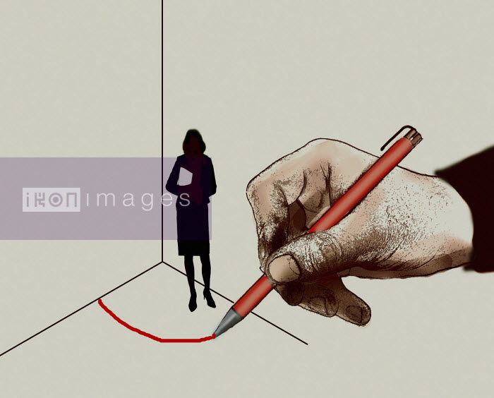 Gary Waters - Man drawing red line around businesswoman in corner