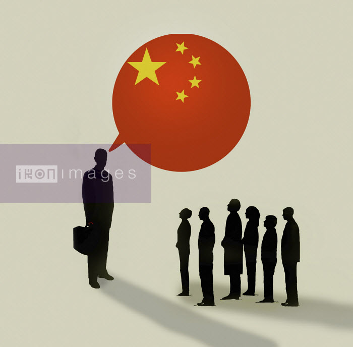 Gary Waters - People listening to larger businessman talking with Chinese flag speech bubble