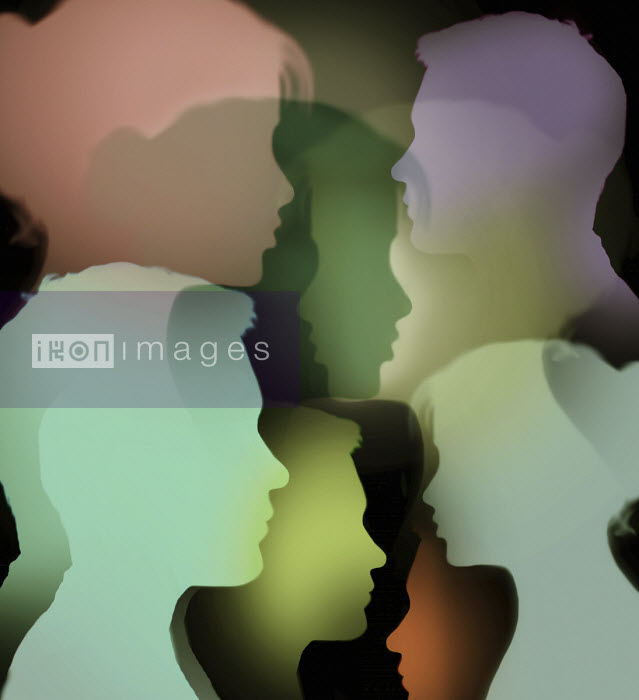 Gary Waters - Multiple overlapping profiles of young man and woman