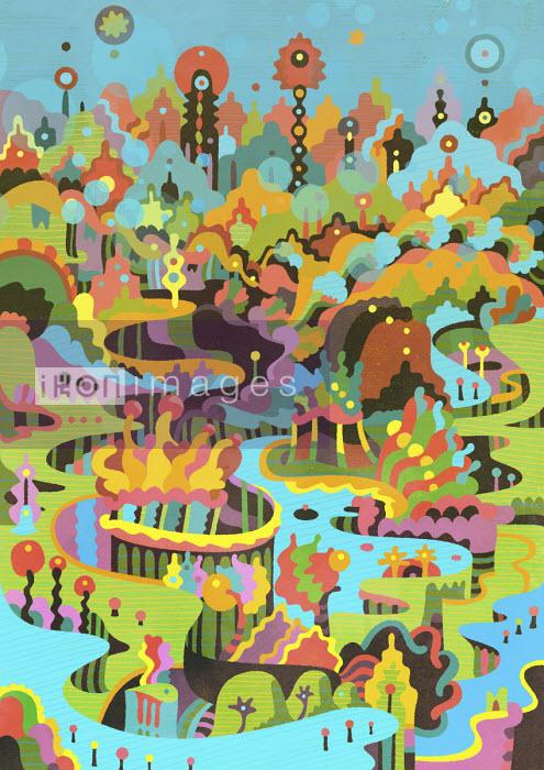 Vibrant fantasy landscape - Matt Lyon