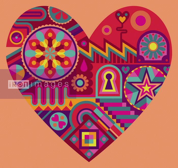 Vibrant pattern forming heart shape - Matt Lyon