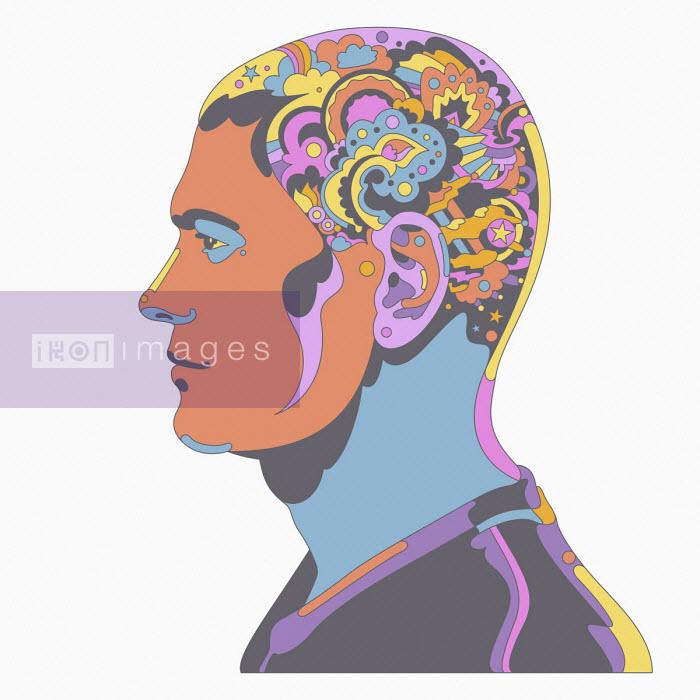 Man with head full of complex abstract pattern - Matt Lyon