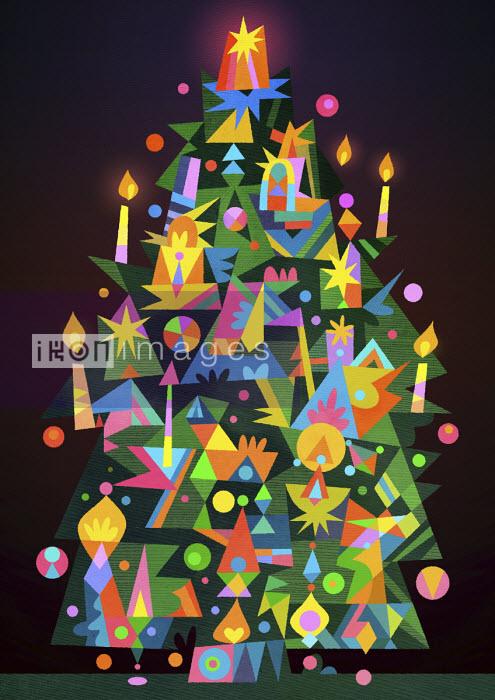 Brightly coloured candle lit Christmas tree - Matt Lyon