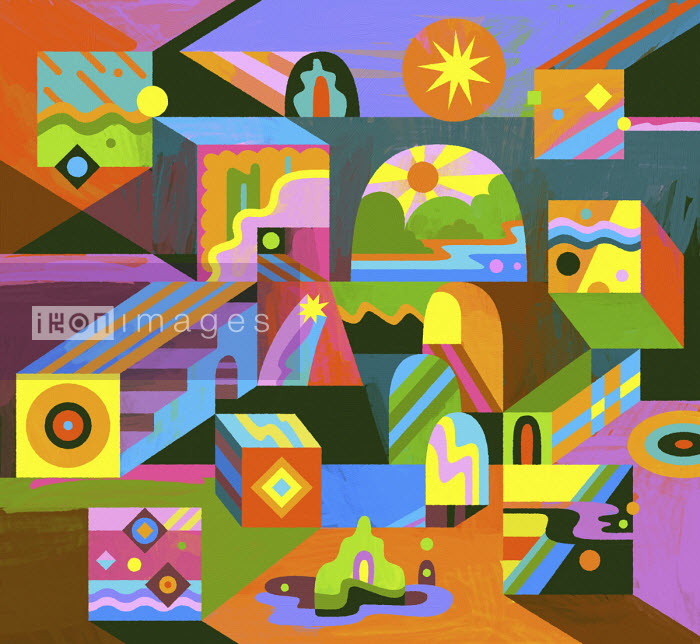 Vibrant three dimensional abstract pattern - Matt Lyon
