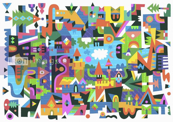 Abstract geometric townscape pattern - Matt Lyon