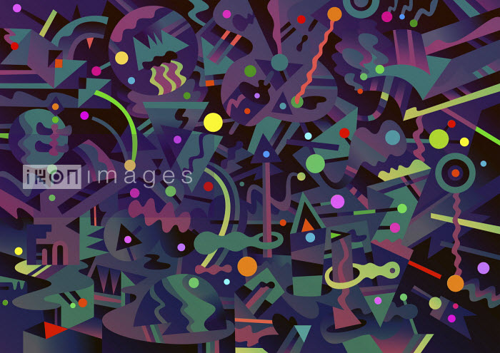 Brightly coloured shapes against dark abstract background - Matt Lyon