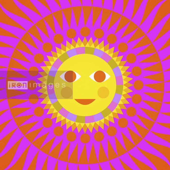 Matt Lyon - Full frame neon coloured sun with smiling face