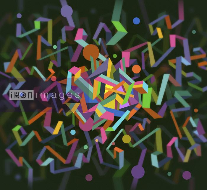 Abstract pattern of tangled multi coloured tape - Matt Lyon