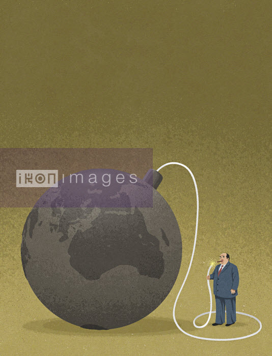 John Holcroft - Fat businessman lighting fuse to planet earth bomb