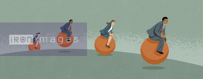 Business people on space hoppers - John Holcroft