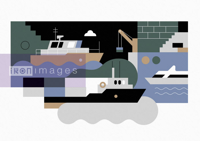 Ships in abstract pattern - Koivo