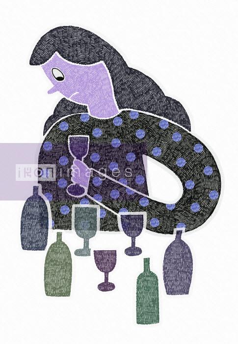 Malin Rosenqvist - Unhappy woman drinking alone