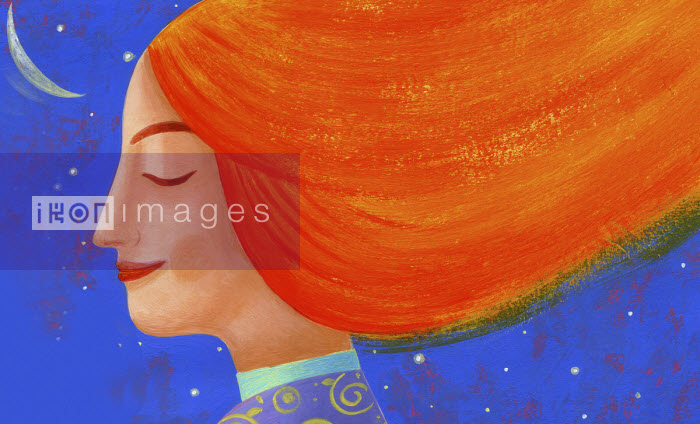 Smiling woman with flowing red hair at night - Tommaso D'Incalci