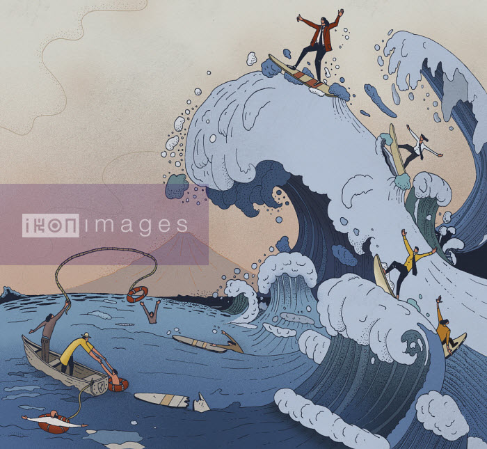 The ups and downs of business in parody of Hokusai's wave - Maxim Usik